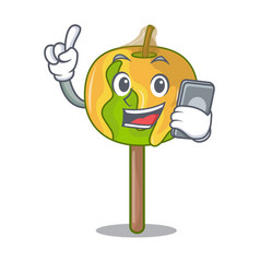 With phone candy apple character cartoon vector