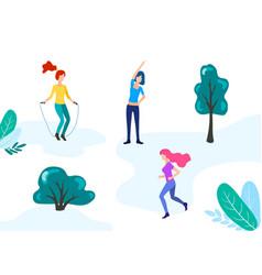 woman girls outdoor activity in park vector image