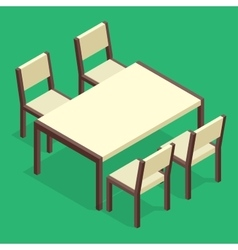 Wooden Table with chairs for cafes Modern table vector image