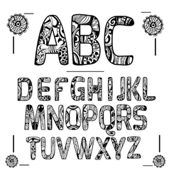 Zentangle Alphabet Black vector image
