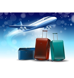 blue background around the fly tourism travel vector image vector image