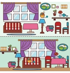Flat style furniture living and dining room vector image