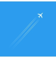 Flying plane silhouette isolated in blue sky with vector image