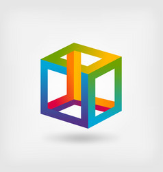 impossible cube multicolor abstract symbol vector image vector image