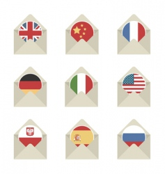 mail flag icons vector image