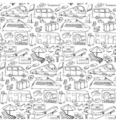 Seamless pattern with travel and transport objects vector image
