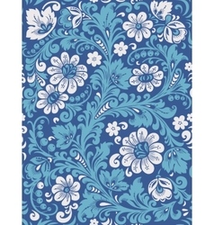 Folk Gzhel painting from Russia in blue colours vector image
