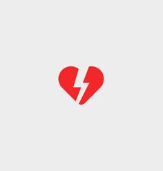 heart thunderbolt logotype love flash logo vector image vector image