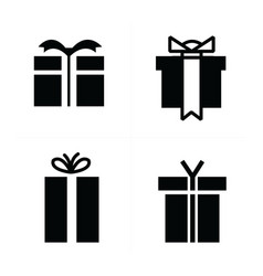 set black gift icons vector image vector image