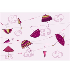 umbrellas hanging on the rope vector image