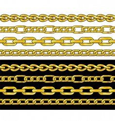 gold chain seamless borders set vector image vector image