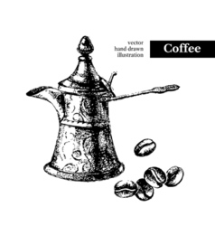 Hand drawn sketch black and white vintage coffee vector image vector image