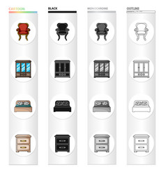 retro furniture armchair wardrobe with glasses vector image vector image