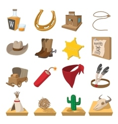 Wild west cowboy cartoon icons vector image vector image