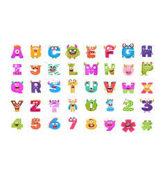 Alphabets and numbers monster flat icons vector
