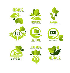 eco organic natural logo design set premium vector image