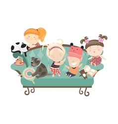 Happy kids sitting on the couch vector image vector image