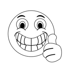 Happy thumb up emoji instant messaging icon imag vector