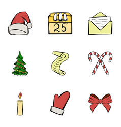 holiday icons set cartoon style vector image
