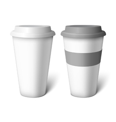 Mockup white coffee cup vector image