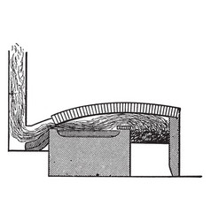sectional view of a reverberatory furnace vintage vector image