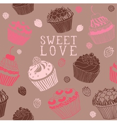 Sweet Cupcakes Pattern vector image vector image
