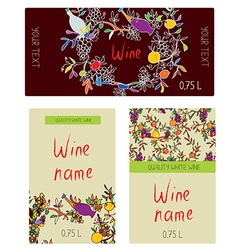 Wine labels set - funny desig vector image