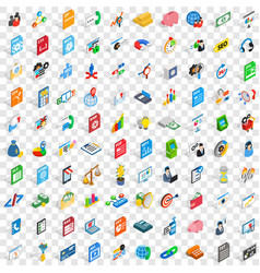 100 b2b icons set isometric 3d style vector