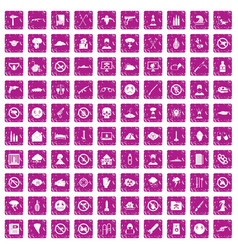 100 tension icons set grunge pink vector