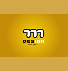 777 number numeral digit white on yellow vector