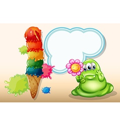 A giant icecream near the monster with a flower vector image