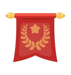 A red flag on a gold pole with the emblem of the vector