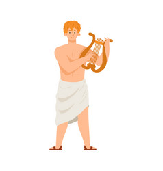 Antique apollo god with musical harp flat cartoon vector