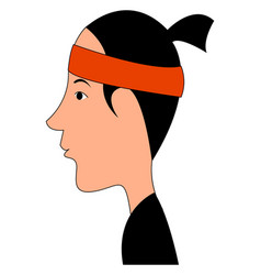 Asian man with red bandana on white background vector