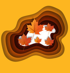 autumn leaves paper cut style background vector image