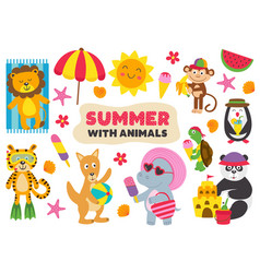 Basic rgbsummer with animals part 2 vector