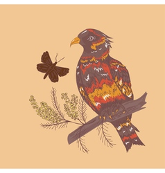 Bird with Flowers2 vector image