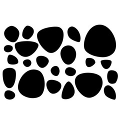 Black silhouette set smooth stones or pebbles vector