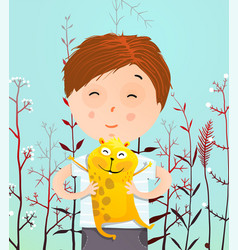 Boy portrait with hamster vector