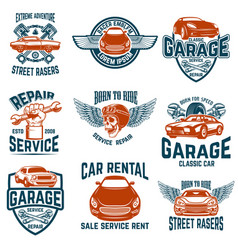 Car repair garage auto service emblems design vector