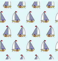 cartoon boat sailboat seamless pattern vector image