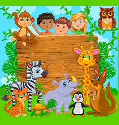 Cartoon happy cute kids with animal wooden banner vector