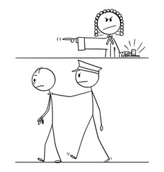 Cartoon judge sentence criminal vector