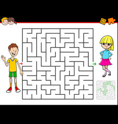 cartoon maze game with boy and girl vector image
