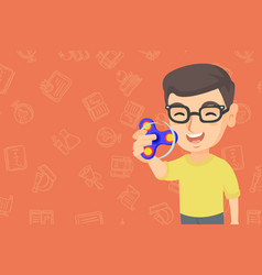 caucasian boy playing with fidget spinner vector image