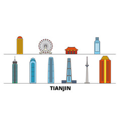 china tianjin flat landmarks vector image
