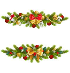 Christmas fir decoration with bow vector