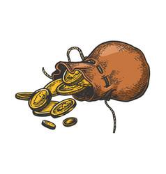 coins in bag sketch vector image