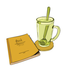 color sketch books and cups with a spoon vector image