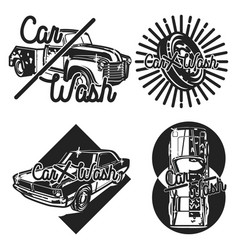 Color vintage car wash emblems vector